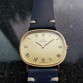 Unisex Omega 33mm 14k Solid Gold Manual WInd 1970s Dress Watch Vintage LV75BLU