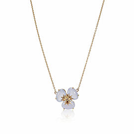 Chalcedony Diamond Flower Necklace in 18K Yellow Gold 0.02 CTW
