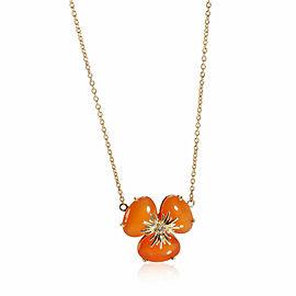 Carnelian Diamond Flower Necklace in 18K Yellow Gold 0.02 CTW