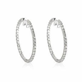 Inside out Diamond Hoop Earring in 14K White Gold 2.00 CTW