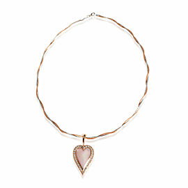 Pink Mother Of Pearl Heart Shape Diamond Necklace in 14K Rose Gold 1.00 CTW