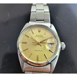Mens Rolex Oysterdate Precision Ref 6694 34mm Hand-Wind 1960s Vintage MA204