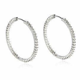 Inside Out Diamond Hoop Earring in 14K White Gold