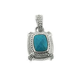 Judith Ripka Turquoise Pendant Enhancer In Sterling Silver