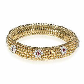 Ruby & Diamond Flower Bracelet in 18K Yellow Gold 3.36 CTW