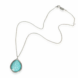 Ippolita Stella Turquoise Diamond Necklace in Sterling Silver 0.19 CTW