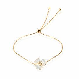 Opal Quartz Diamond Flower Bolo Bracelet in 18K Yellow Gold 0.02 CTW