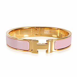 Hermes Clic H Rose Nacarat Gold Plated Bracelet Size GM