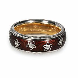 Wellendorf Spinning Flower Angel Enamel Diamond Ring in 18K White Gold 0.08 CTW