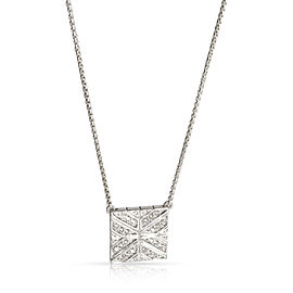 John Hardy Modern Chain Diamond Square Pendant Necklace Sterling Silver 0.25 CTW