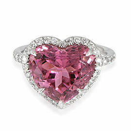 Tiffany & Co. Soleste Heart Tourmaline Diamond Ring in Platinum Pink 0.42 CTW
