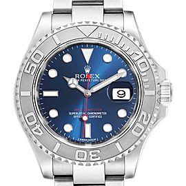 Rolex Yachtmaster 40mm Steel Platinum Blue Dial Mens Watch 116622