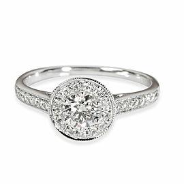 Halo Diamond Engagement Ring in Platinum F VVS1 0.5 CTW