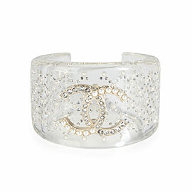 Chanel Clear Resin Strass & Pearl Double C Logo Wide Bangle