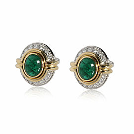Harry Winston Jaques Timey Emerald Diamond Earrings in 18K Two Toned Gold