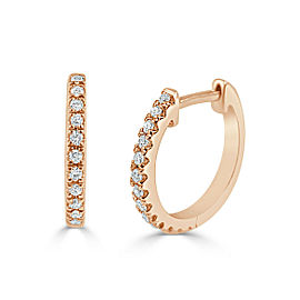 14k Rose Gold & Diamond Huggie Earrings