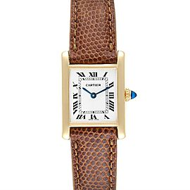 Cartier Tank Classic Paris 18k Yellow Gold Brown Strap Ladies Watch
