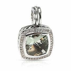 David Yurman Albion Prasiolite Diamond Pendant in Sterling Silver 0.32 CTW