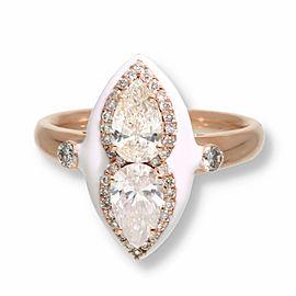 Pear Shaped & Round Diamond Ring White Enamel Ring in 14K Rose Gold 1.43 CTW