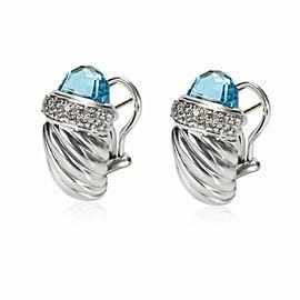 David Yurman Cable Topaz Diamond Earring in Sterling Silver Blue 0.3 CT