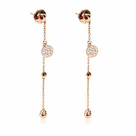 Diamond Drop Pave Disc Earring in 18K Rose Gold 0.19 CTW