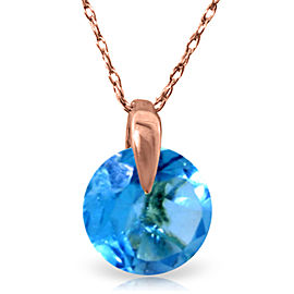1 CTW 14K Solid Rose Gold Sundisk Blue Topaz Necklace