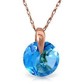 1 CTW 14K Solid Rose Gold Sundisk Blue Topaz Necklace