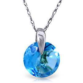 1 CTW 14K Solid White Gold Friend Indeed Blue Topaz Necklace