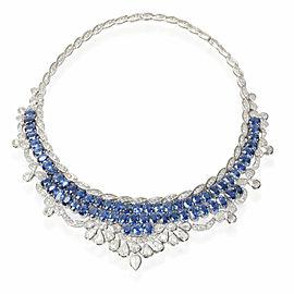 Sapphires & Diamond Bib Style Statement Necklace 18K White Gold 65.78 Ctw