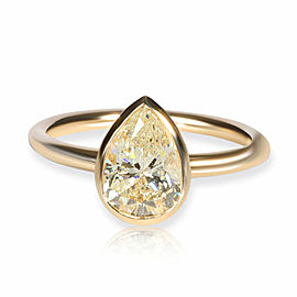 GIA Certified Bezel Set Diamond Solitaire Ring in 14K Yellow Gold L I2 1.52 CTW