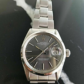 Mens Rolex Oyster Perpetual Date 1970s 1500 35mm Automatic Vintage Watch RA110