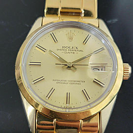 Mens Rolex Oyster Perpetual Date 15505 34mm Gold-Capped Automatic 1980s RA235