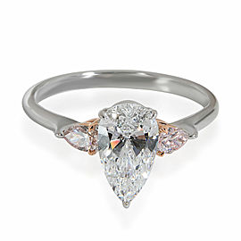 3 Stone Pear Diamond Ring Argyle Pink Side Diamonds in 18K Gold D IF 1.16 CTW