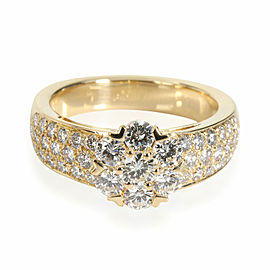 Van Cleef & Arpels Fleurette Diamond Ring in 18K Yellow Gold 1.15 CTW
