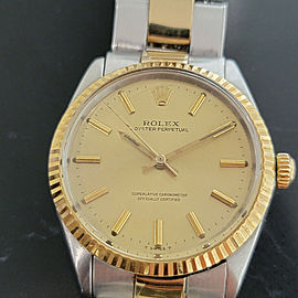 Mens Rolex Oyster Perpetual 5500 35mm 14k Gold SS Automatic 1960s Vintage RA179