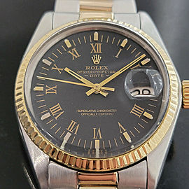 Mens Rolex Oyster Perpetual Date 1501 35mm 18k SS Automatic 1970s Swiss RA250