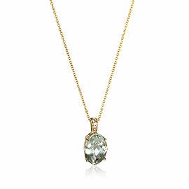 Effy Green Amethyst Diamond Pendant in 14K Yellow Gold Green 0.04 CTW