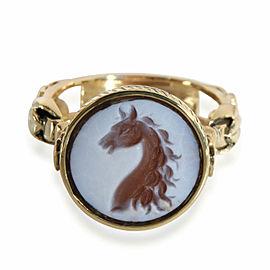 Men's Horsehead Intaglio Signet Ring in 18K Yellow Gold