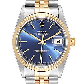 Rolex Datejust Steel Yellow Gold Blue Diamond Dial Mens Watch 16233