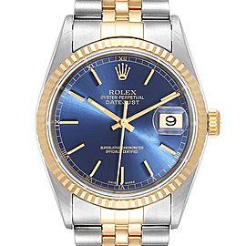 Rolex Datejust Steel Yellow Gold Blue Diamond Dial Mens Watch 16233