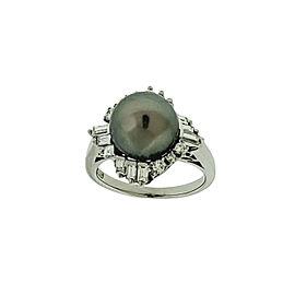 Mikimoto 9.7mm Back South Sea Pearl & Diamond Ring In 18K Platinum