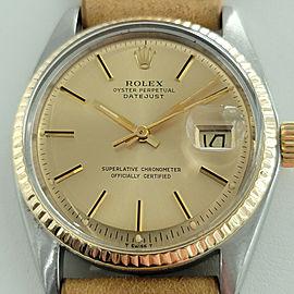Mens Rolex Oyster Datejust 1601 36mm 18k SS Automatic 1970s Vintage Swiss RJC112