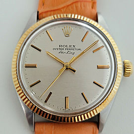 Mens Rolex Ref 5501 Air King 34mm 18k Gold SS Automatic 1970s Vintage RJC155