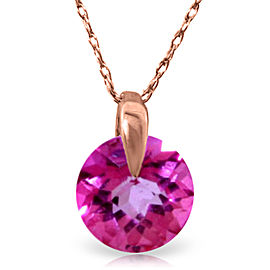 1 CTW 14K Solid Rose Gold Sundisk Pink Topaz Necklace