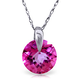 1 CTW 14K Solid White Gold Admitting How Pink Topaz Necklace