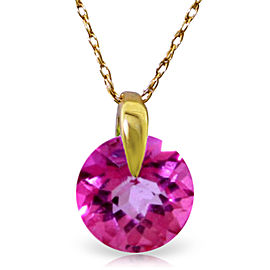 1 CTW 14K Solid Gold Unconditional Pink Topaz Necklace