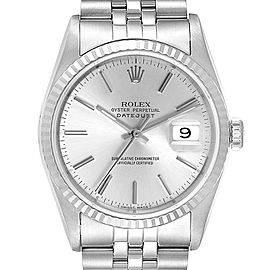 Rolex Datejust 36 Steel White Gold Silver Dial Mens Watch 16234