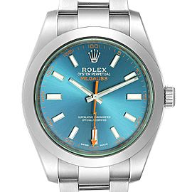 Rolex Milgauss Blue Dial Green Crystal Mens Watch 116400 Box Card