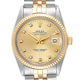 Rolex Datejust Steel Yellow Gold Diamond Vintage Mens Watch 16013 Box Papers