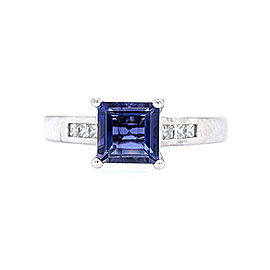 Ritani 18k White Gold Iolite Diamond Ring 6.5